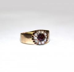 """Кольцо """"Малинка"""" с гранатом и алмазами"""